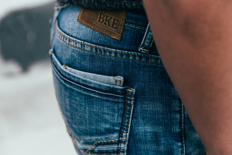 Close up of Jake Straight Jeans.