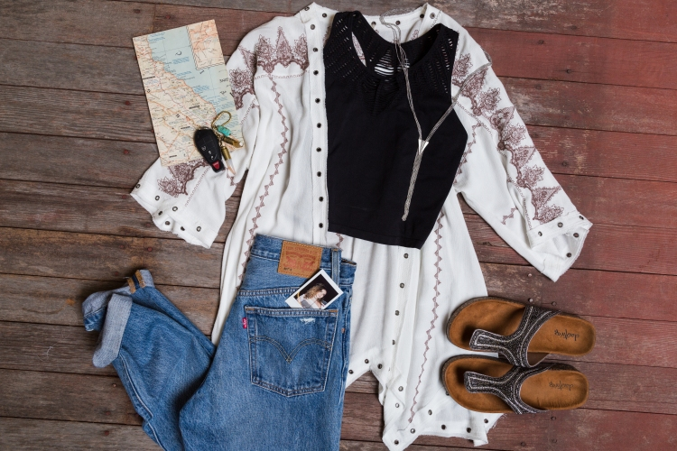 outfit laydown - while kimono with maroon embroidery down sleeve paired with levi medium wash jeans and slip on sandals