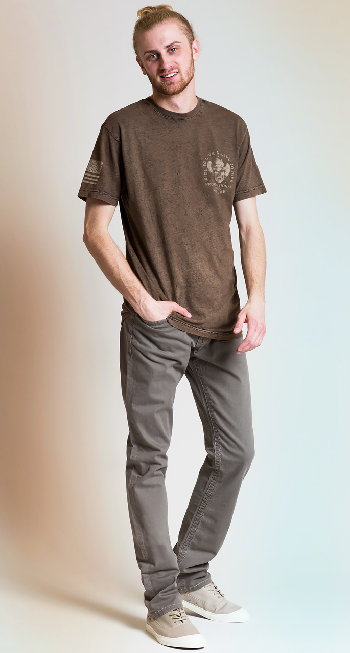 Men's style trends. All taupe monochromatic outfit for men.