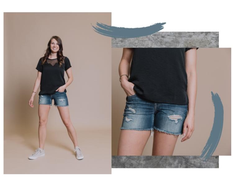 Girl in BKE Stella shorts.