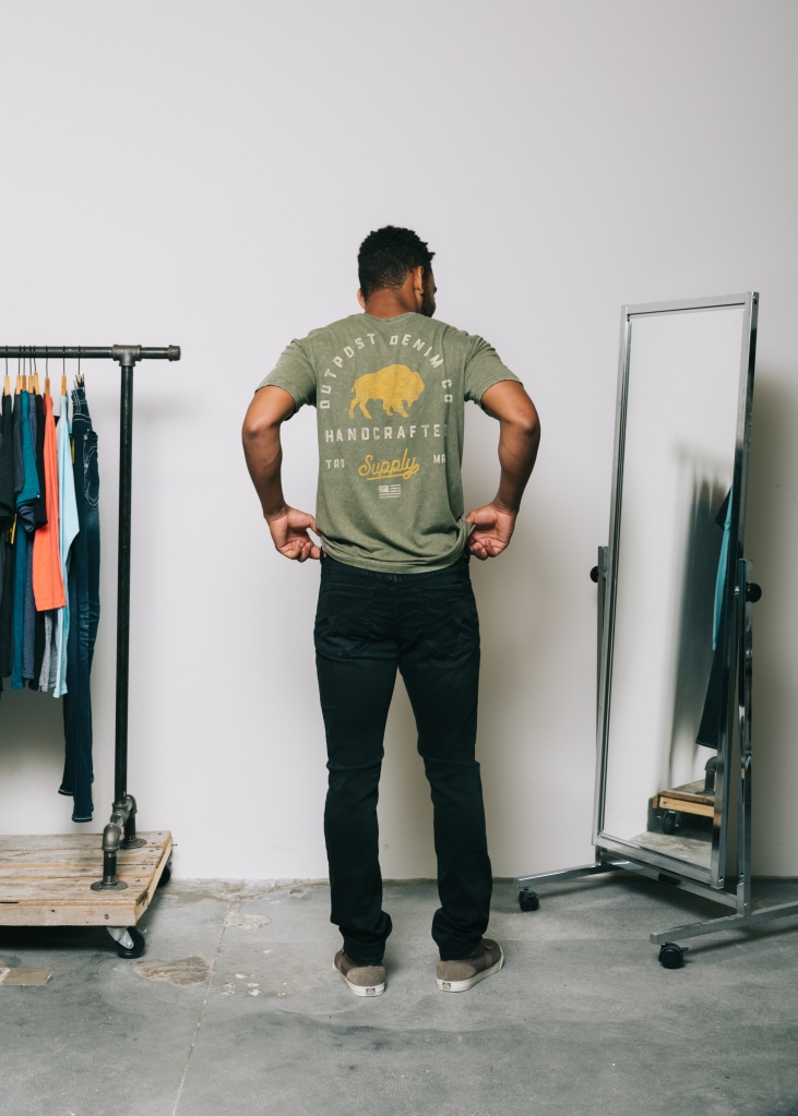 Special Priced Anniversary Event - Olive Outpost graphic t-shirt paired with black Salvage denim in Havoc fit.