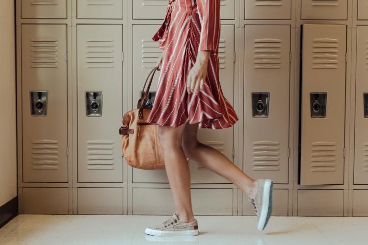 70s Styles   Amuse Dress in Auburn Stripes