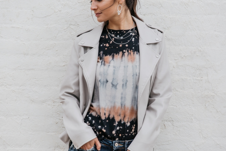 moto trend jacket paired with splatter dyed tee and the ultimate silver statement earring