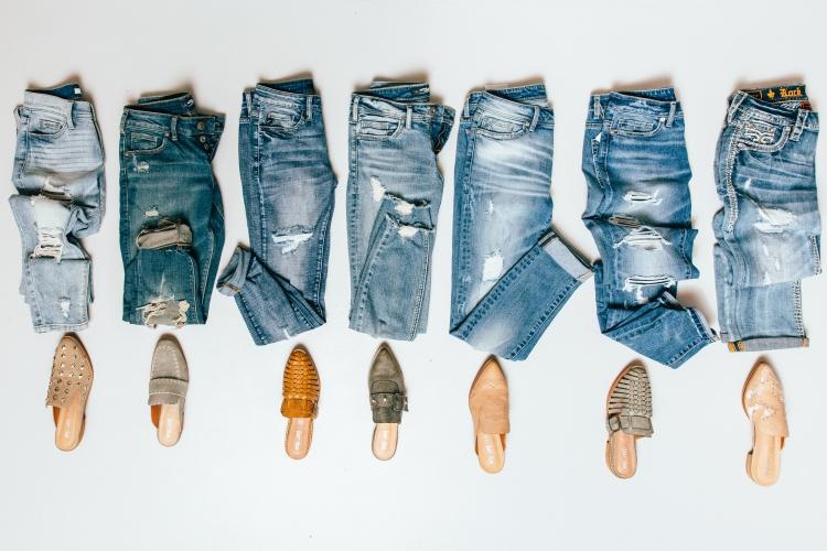 jeans, slides, mules