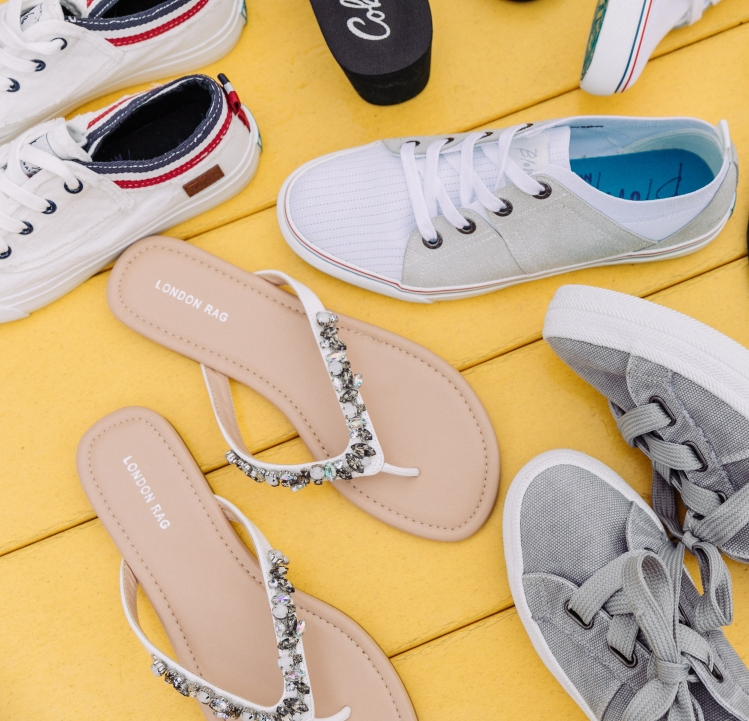 Sneakers and flip-flops for Memorial Day weekend style