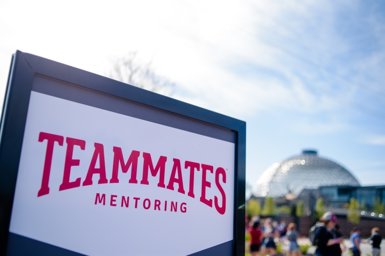TeamMates sign displayed at Henry Doorly Zoo in Omaha, Nebraska, during the TeamMates Graduation Celebration on May 8, 2018.