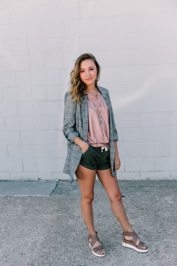 The fashion forecast is full of menswear, and we love how Emily added some feminine touches.