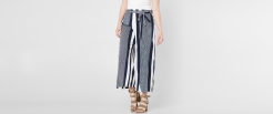 Angie Navy and White Striped Wide Leg Pant