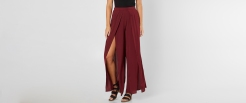 FavLux Slitted Maroon Wide Leg Pant