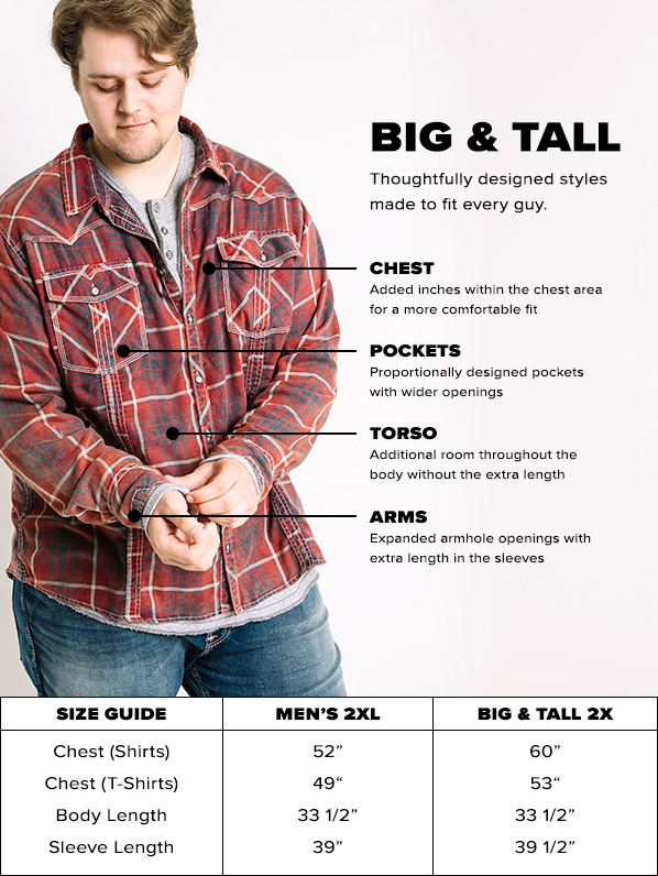 size guide conversion chart for Big & Tall