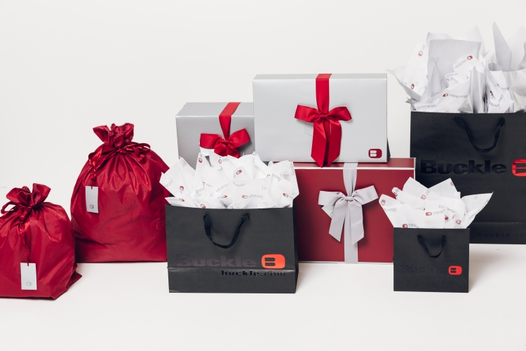 Free holiday gift packaging at Buckle