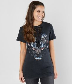 Womens Affliction Freedom Defender T-shirt