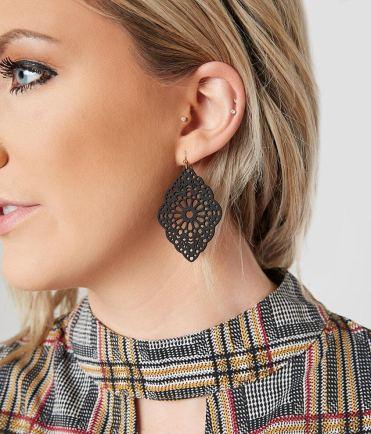 Women's BKE Blank Dangle Cut Out Statement Earrings 2