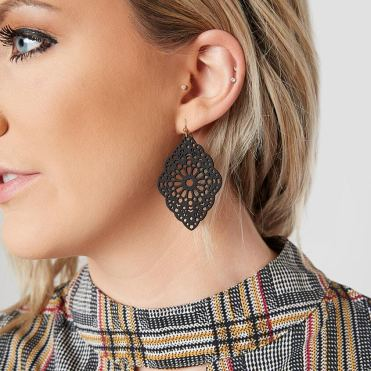 Women's BKE Blank Dangle Cut Out Statement Earrings 2