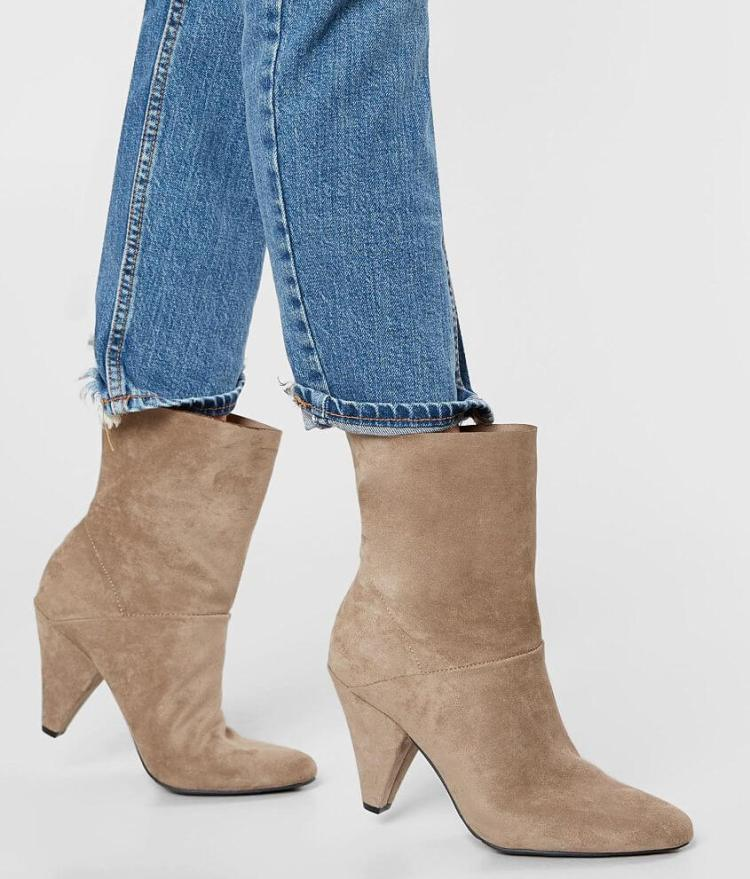 Women's Dolce Vita Beige Suede Ankle Booties with Cone Heel