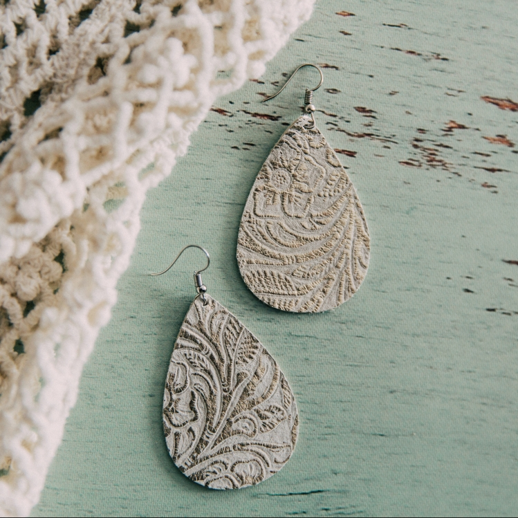 Nichole Lewis Designs White Foiled Leather Drop Statement Earrings