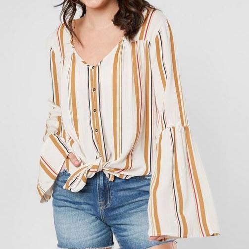 Women's Billabong Yellow Striped Bell Sleeve Top
