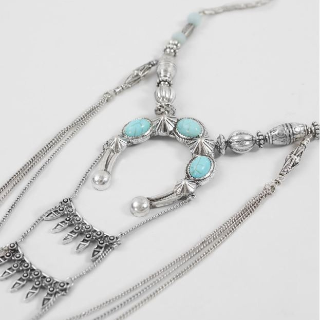Women's BKE Turquoise Stone Crescent Moon Necklace