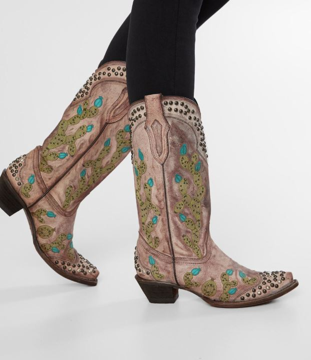 Women's Corral Light Pink Leather Cactus Western Boots