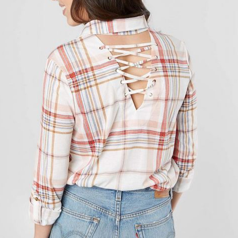 Women's Daytrip Plaid Button-Up Shirts with Lace-up Back