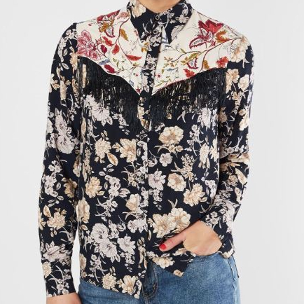 Women's Gimmicks Western Floral Button-Up Shirt with Fringe