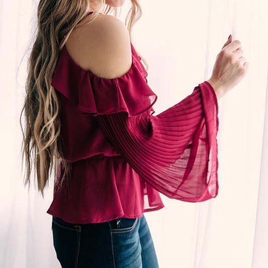 Women's Willow and Root Cold Shoulder Bell Sleeve Top