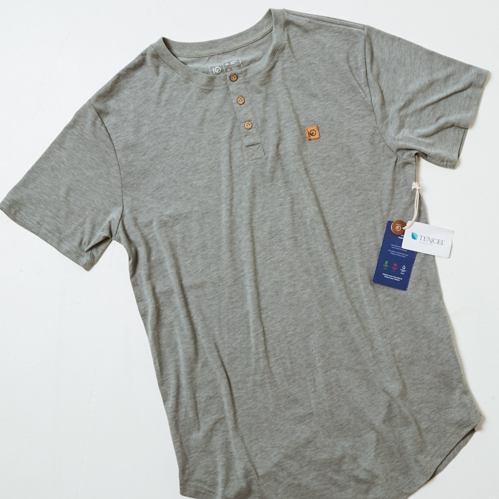 Men's Tentree Henley made with Recycled Polyester, Tencel Lyocell, Organic Cotton, Coconut Buttons, and Hemp