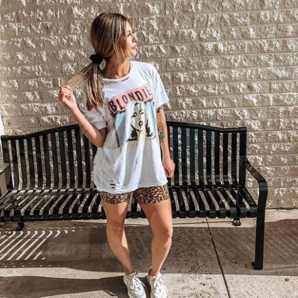 Women's outfit featuring a Blondie Ripped Band Tee with Cheetah Biker Shorts and Dad Sneakers