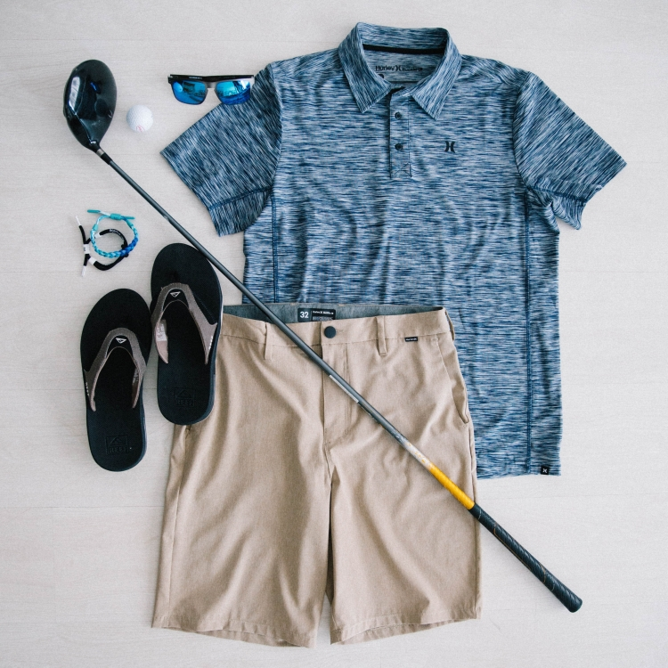 Father's Day Gifts - Men's Dri-FIT polo and Men's Hurley Phantom Hybrid Walk Shorts