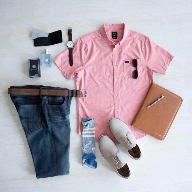 Father's Day Gifts - Refined Dark Wash Denim, Short Sleeve Button-up, Steven Madden Casual Dress Shoes, Gift Cards, and Cologne