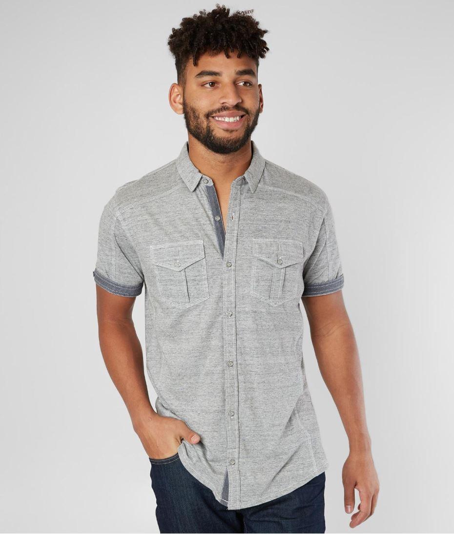 Men's BKE Grey Button-up Shirt