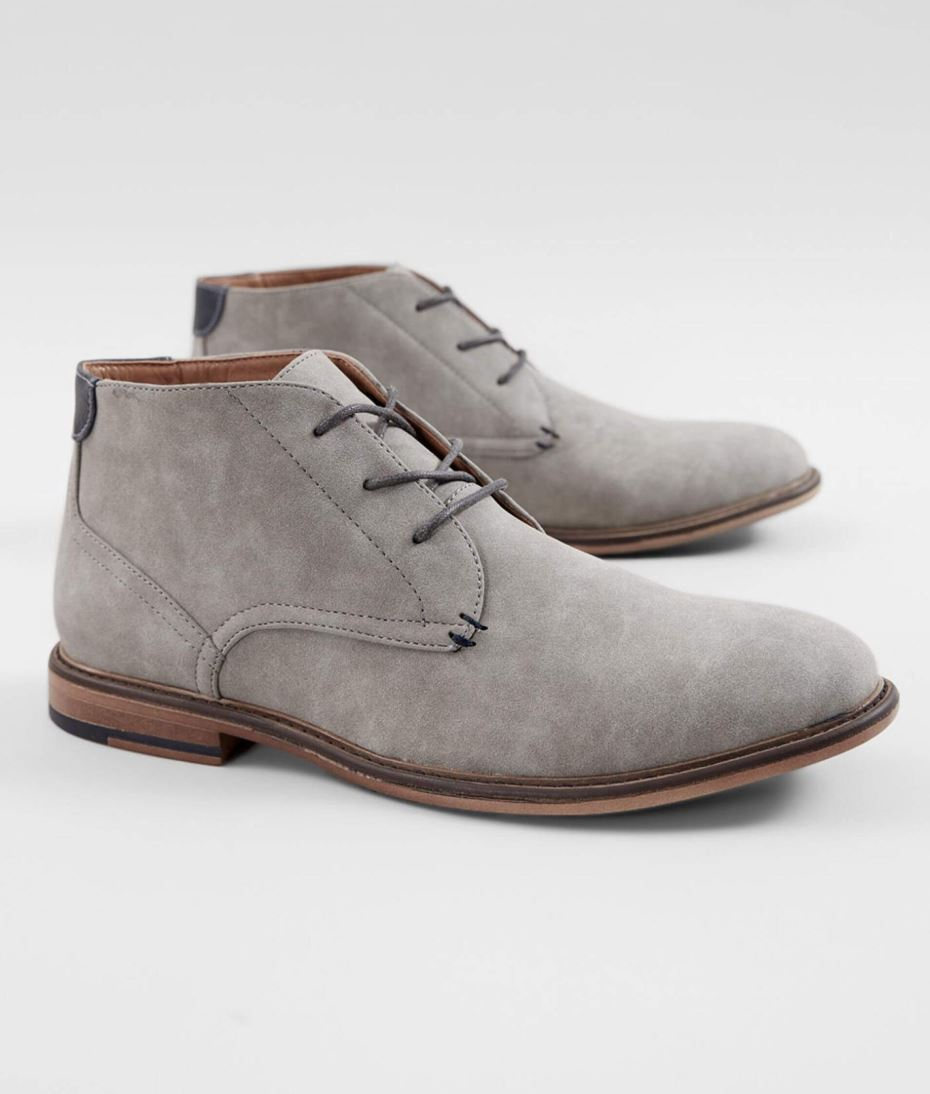 Men's Steve Madden Grey M-Grazzy Pieced Faux Suede Lace-up Dress Shoe