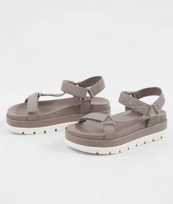 Women's JSlides Blakely Grey Leather Athletic Sandal