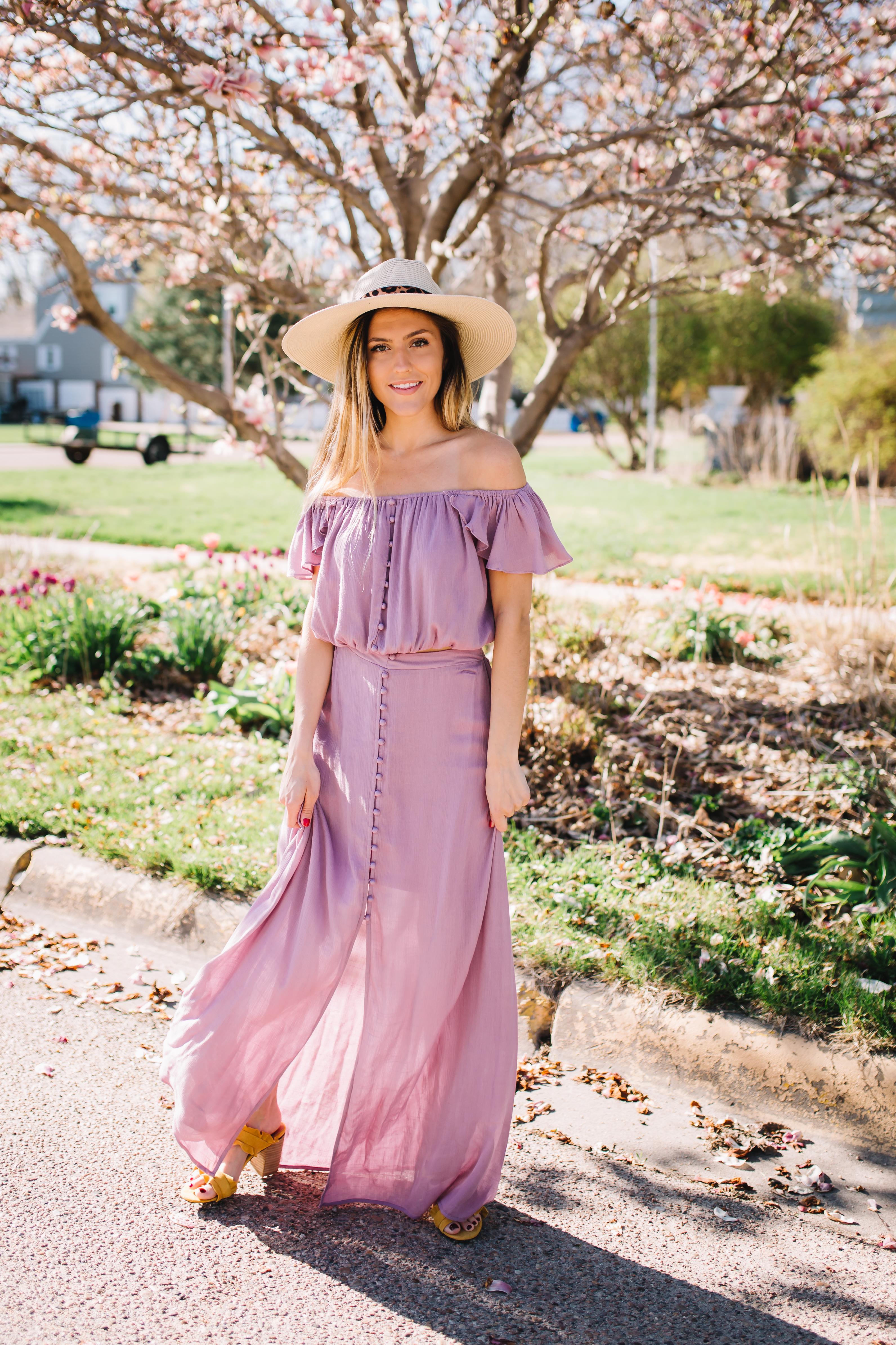 Women's Two-Piece Purple Off-Shoulder Dress